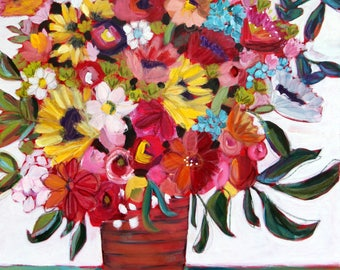 COLOR MY WORLD, Large Framed Mixed Media Floral Painting, Big Flower Arrangement Painting, Colorful Flowers Painting