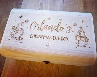 Personalised Luxury Wooden Christmas Eve Box - Engraved Snowman Design.