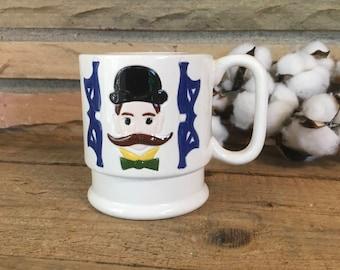 Vintage Shave Mug , Handlebar mustache , Shaving Mug , Ceramic , Bowler Hat , Gift for Men , Gift for Dad , Bow Tie , Fun Gift , Husband