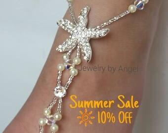 Starfish Pearl Foot Jewelry Crystal Silver Bridal Barefoot Sandal Beach Wedding Bridal Foot Jewelry Bridal Starfish Jewelry