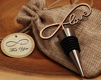 Wine stopper wedding favors - copper double herat stopper - Endless love Vintage copper wine stopper favor-