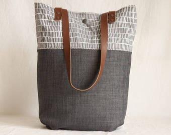 Shoulder bag with leather handles, shopper, dark grey