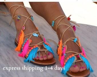 "20% OFF Tie up Gladiator sandals/ Leather sandals/ Fringed sandals/ Handmade sandals/ Decorated sandals/ Colourful sandals/  ""MYKONOS"""