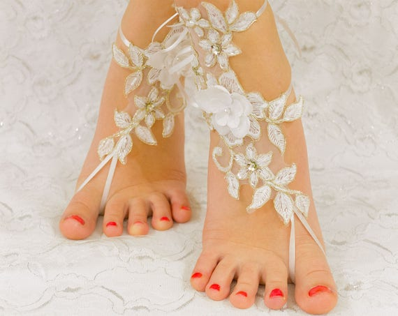 Barefoot sandals wedding gold, wedding party, wedding shoes lace, wedding shoes for bride 12