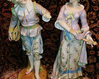 """Pair of Extremely Fine Victorian Bisque 17.5"""" tall Man and Woman Statutes c.1870 Dresden/Meissen quality"""