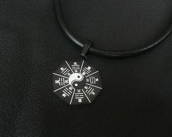 Mens Steel Yin Yang Necklace, Mens Leather Necklace, Men Yin Yang Pendant,Mens Necklace,Yin Yang Choker,Leather Choker Yin Yang,Mens Jewelry