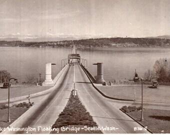 Seattle, Washington Lake Washington Floating Bridge RPPC Real Photo Postcard 1940's