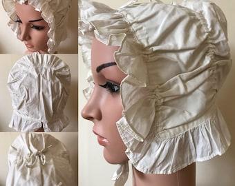 Antique 1800s Prairie Hat Sun Bonnet Vintage Workhouse Linen Maids Cap Milkmaids Hat.