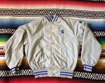 Vintage 70s 80s Nylon Sunoco Snap Button Coaches Jacket by Plac Jac from Dunbrooke Sz M fits Smaller Pre-owned Bomber Jacket