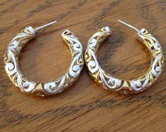 Sterling Silver and Gold Scroll Hoop Earrings