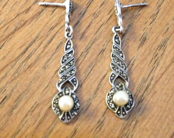 Pearl and Marcasite Sterling Silver Earrings