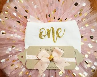 Pink and Gold Polka Dot Birthday Tutu Set
