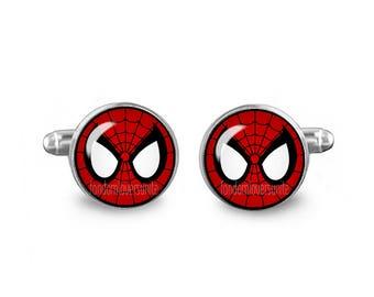 Spiderman Cuff Links Spiderman Cufflinks 16mm Cufflinks Gift for Men Groomsmen Novelty Cuff links Fandom Jewelry