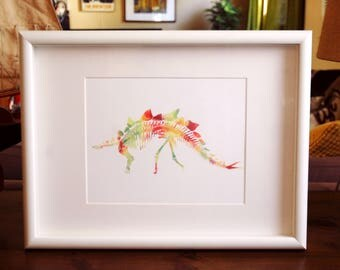 Stegosaurus Watercolor Print - 5x7