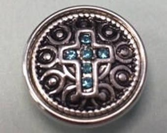 Vintage Metal Interchangeable 18mm Snap with a Blue Cross