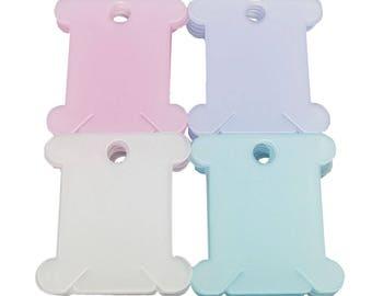 200 Pcs Plastic Floss Bobbin Self-Stick Floss Num Labels 40mmx37mm Mixed P120
