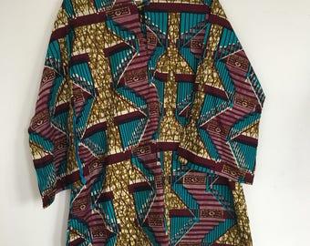 Ladies beautiful African print dashiki cotton print designed and hand made tunic top uk 20