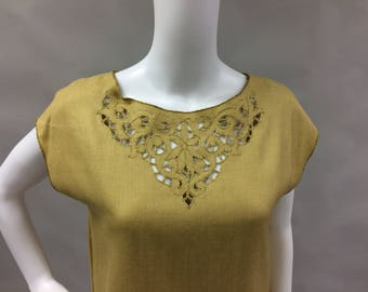 80s 90s Oscar de La Renta Cutout Work Sheath Dress Golden Yellow Sleeveless | Size Medium 10