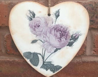 Wooden Heart Shape Wall Plaque - Roses