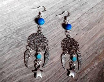 """Silver hooks 925 """"Lulla"""" Dreamcatcher, dreamcatcher, wings, agate, Bohemian, Star, Swarovski crystal earrings"""