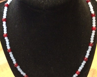 Light blue and maroon beaded choker with magnetic clasp