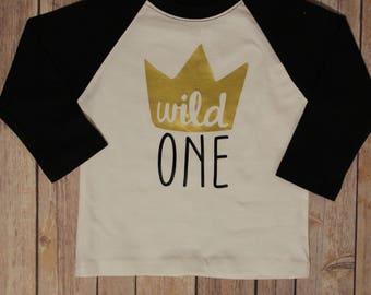 Wild One Birthday Shirt, Wild One, Wild One Raglan Birthday Shirt, Wild One Boys Birthday, Boys Birthday Shirt, Boys Raglan Shirt