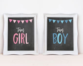"""Team Girl Team Boy 8""""x10"""" Printable Party Sign Set 
