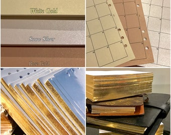MO2P Month on 2 pages A5/PERSONAL Gold Edge/Shimmer/White Planner Inserts Refill Agenda Calendar, Diary, Month fit Louis Vuitton 2018