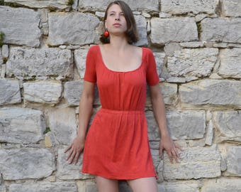 "100% hemp jersey mini dress ""Scarlet"""