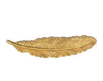 Gold, Feather Vintage Metal Door / Drawer / Cupboard Knob ~  Upcycling Project
