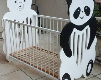 Cot wooden Panda, bear, two adjustable heights, made in France, handmade, birthstone