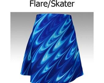 Sapphire Skirt, Blue Skirt, Wave Skirt, Flare Skirt, Skater Skirt, Fitted Skirt, Bodycon Skirt, Unique Skirt, Cute Skirt, Short Skirt, Women