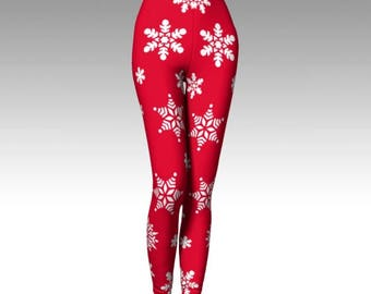 Snowflake Leggings, Christmas Leggings, Red Leggings, Green Leggings, Premium Leggings, Winter Leggings, Winter Fashion, Activewear, Artwear