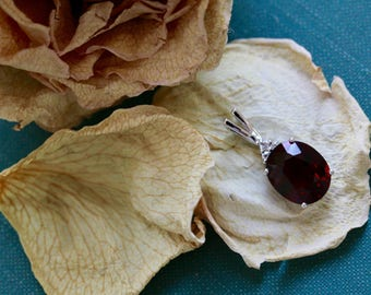 Fine Chestnut Rose Zircon, Zircon Dahlia Pendant from The Elizabeth Henry Collection, Zircon Pendant, Golden Zircon Pendant C3V5KT-P