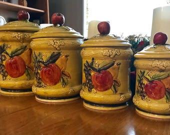 Lefton Canisters // 1970s // #4131 // fruit design