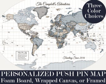 Personalized Pushpin World Map 24x36 Push Pin Map Travel Decor Large Pinboard Housewarming Gift for Wife