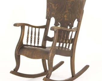 Antique Rocking Chair   Tiger Oak Rocking Chair   America   B803