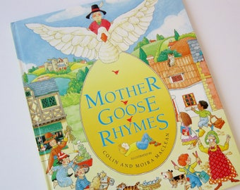 Mother Goose Rhymes Children's Book, Vintage Book of Nursery and Mother Goose Rhymes, Baby Shower Gifts Jack and Jill Mary Had a Little Lamb