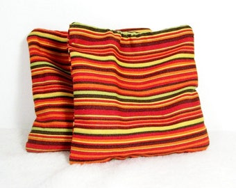 Autumn Multi-stripe Microwavable Rice Filled Reusable Pocket Hand Warmers, Hot Pack, Cold Pack, Black, Brown, Burgundy, Green, Orange, Red