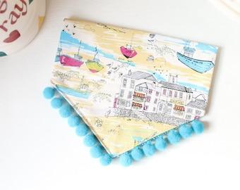 Small Dog Bandana Seaside Scene/Nautical with Pom Poms Over Collar/Slide On