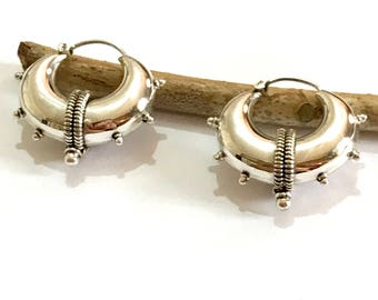 Plain Silver hoop earrings,  spike earrings, hoop  spike earrings, gypsy earrings, Sterling silver earrings, Indian earrings, ethnic hoop e