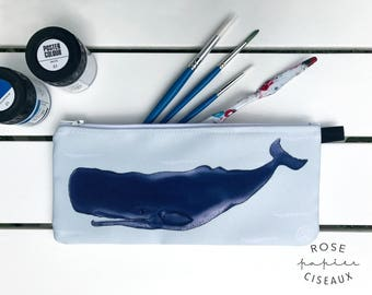 Whale case - Pencil case, Makeup case, Passport case, School case, Sea anchors pattern, Change purse, Phone holder, Craft organizers, Tote