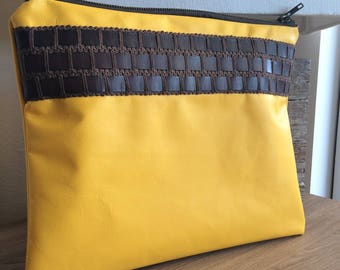 Yellow leather and gallon brown leather pouch