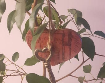 Key to your heart, Heart and Key Ornament, Valentines day, Love, Shabby Chic