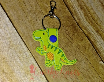 dinosaur key chain-dinosaur key fob-embroidered t rex-t rex key chain-vinyl key chain-party favors-bag charm-zipper pull