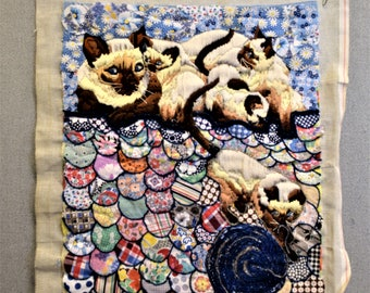 Siamese Cats Crewel Longstitch Quilting Fabric Art