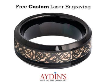 Black IP Celtic Cut-Out Design Inlay 8mm Tungsten Carbide Wedding Ring
