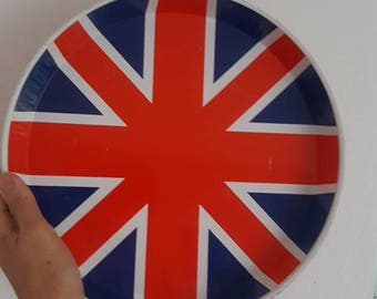 Vintage Tin Tray Round Union Jack Retro Tray from the Sex Pistols Era in the 70s London Calling
