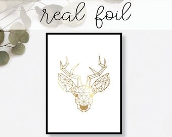 Abstract Deer Print Real Gold Foil Minimal Gold Foil Art