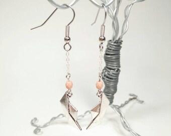 Silver Origami Boat Earrings - Matte Pale Pink